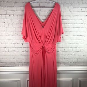 VKY & Co Coral V-Neck Maxi Dress With Knot, Sz 2X